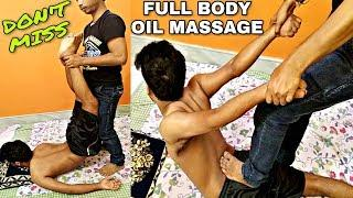 Full body oil massage therapy for sleep by Indian barber | intense foot and body massage | ASMR