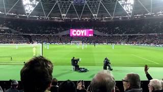 """West Ham Fans singing """"I'm Forever Blowing Bubbles"""" before match starts"""