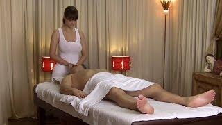 Massage by old man   beautiful girl Abdominal massage for weight loss