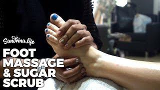 Deep tissue foot massage for muscular pain with menthol - ASMR sugar scrub sounds