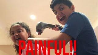 Painful Massage challenge w/sister **pranked brother**