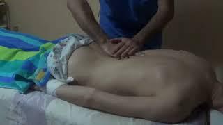Техника массажа спины при сколиозе, снимаю тейпы  Massaging and correct scoliosis